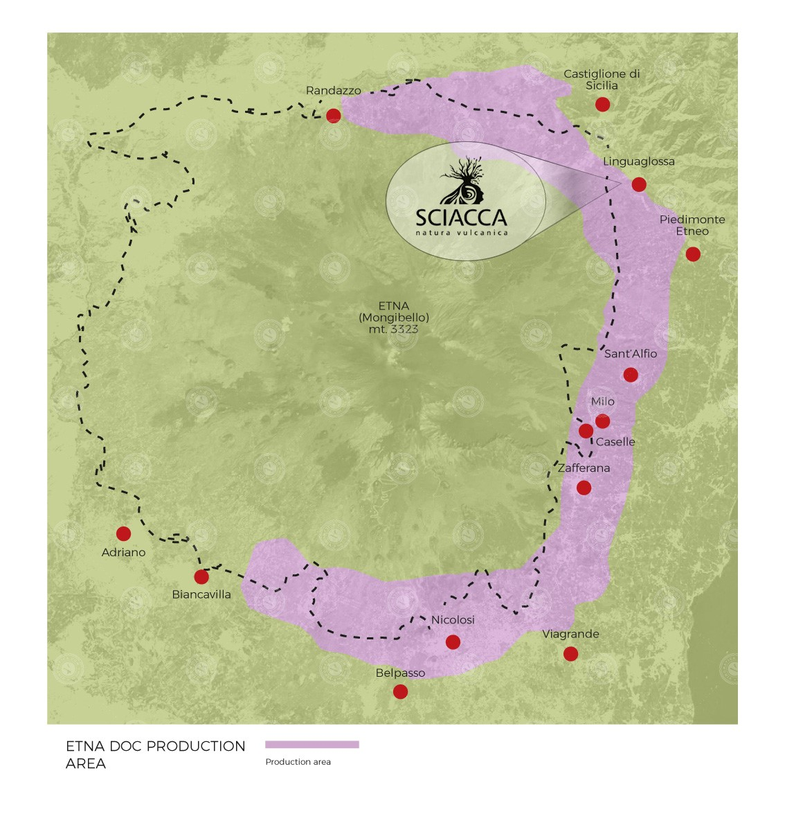 Área geográfica de producción del Etna Doc